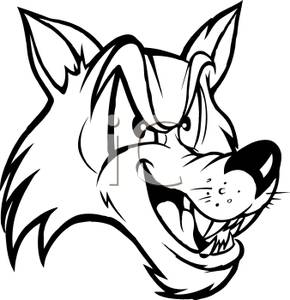 290x300 Black and White Wolf Mascot