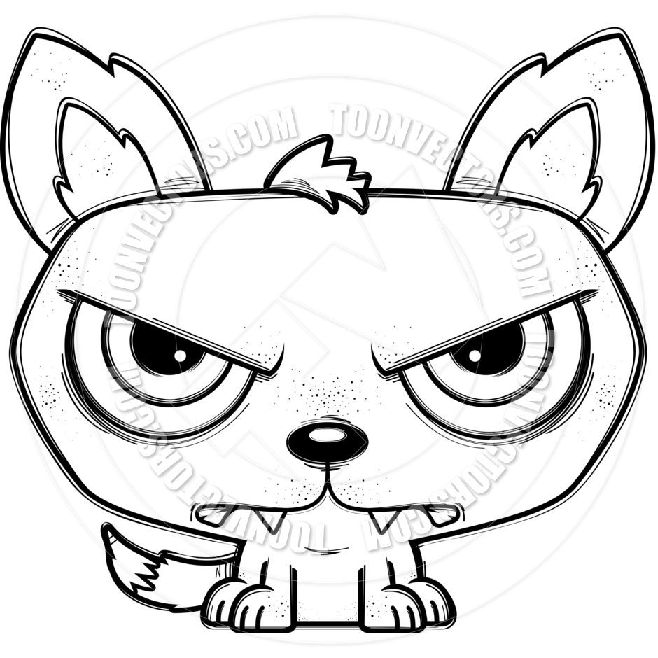 940x940 Cartoon Little Wolf Mad (Black amp White Line Art) by Cory Thoman