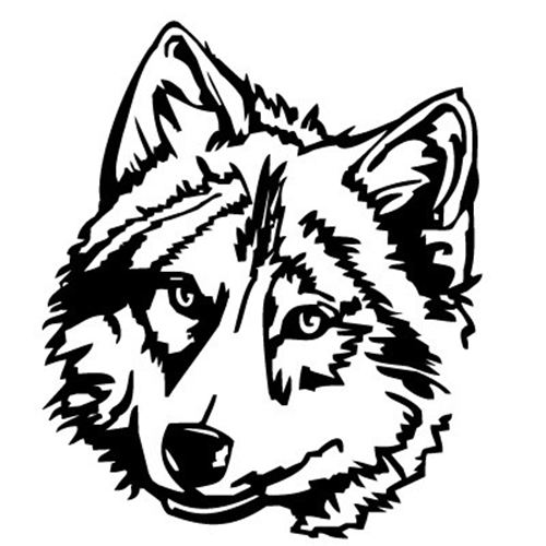 500x500 Free Wolf Clipart Black and White Image