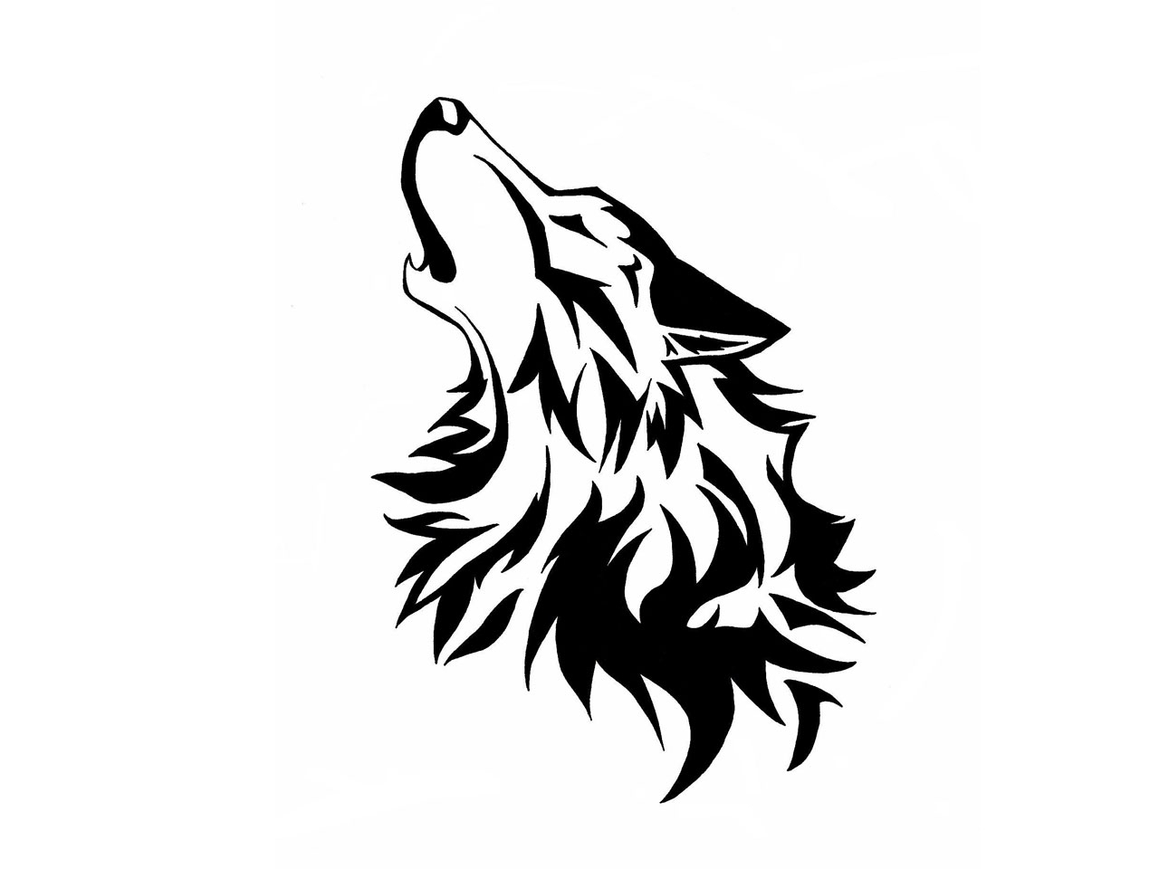 1280x960 Wolf Howling At The Moon Drawing Black And White Face Free Clip