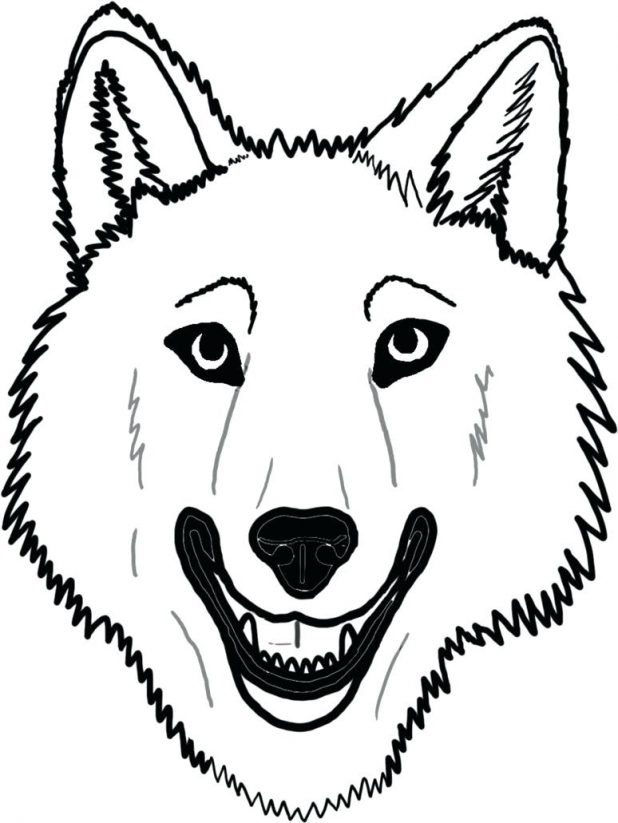 618x823 Wolf Face Coloring Pages