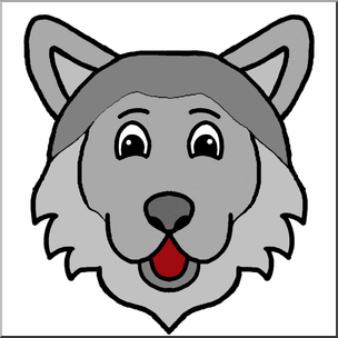 304x304 Clip Art Cartoon Animal Faces Wolf Color I Abcteach