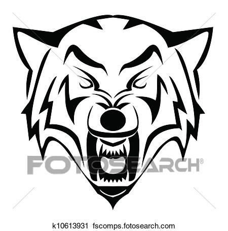 450x455 Clipart Of Wolf Face K10613931