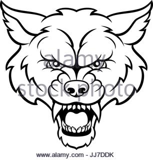 306x320 An Angry Wolf Sports Mascot Animal Character Stock Photo, Royalty