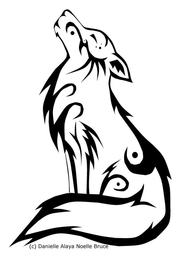 774x1032 More Like Sitting Wolf Tribal Tattoo By