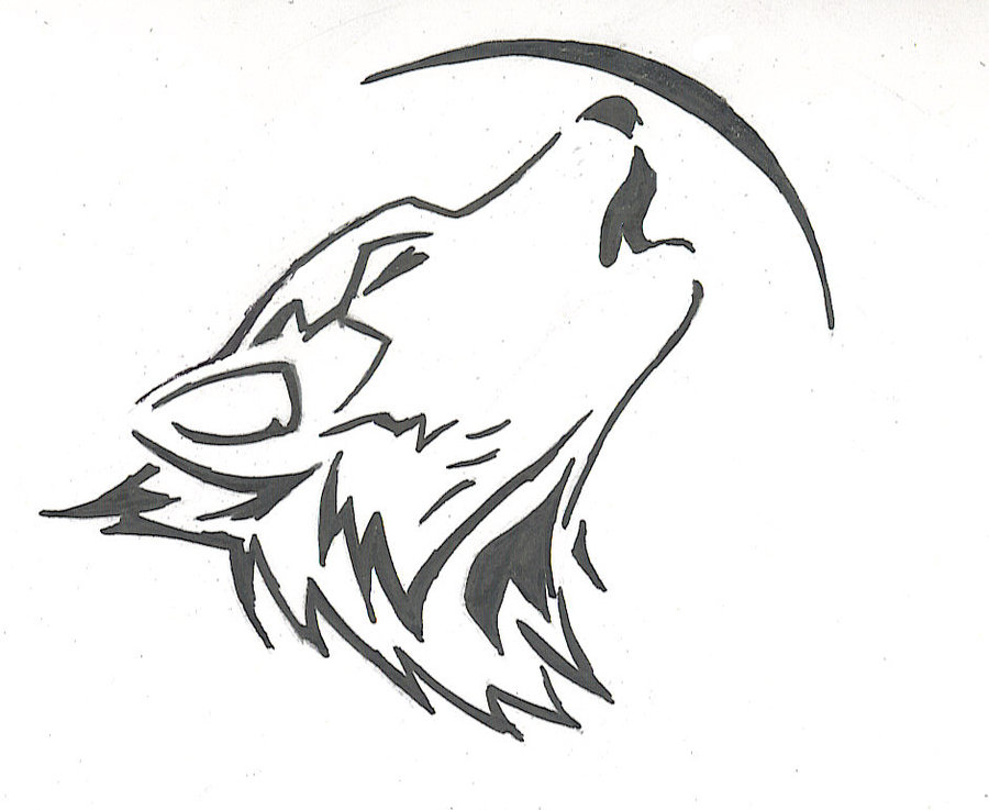 900x737 Drawn Howling Wolf Outline Howling