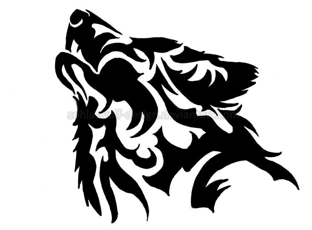 1024x757 Howling Wolf Face Outline