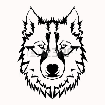 450x450 Vector Illustration Of Wolf Face Black And White Tattoo Royalty