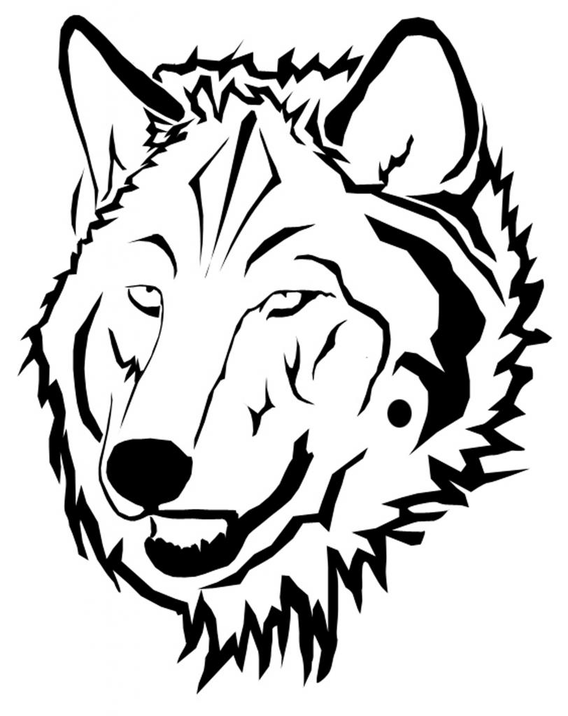 812x1024 Wolf Face Outline
