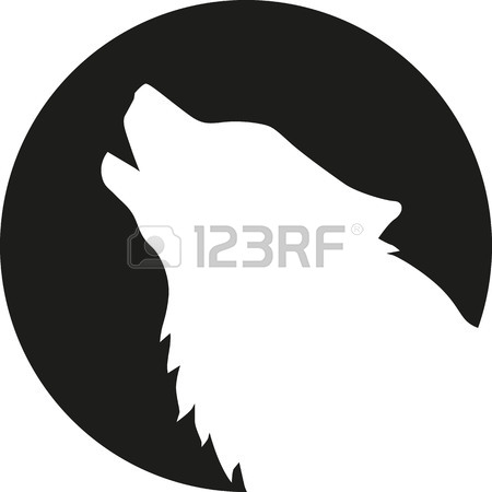 450x450 Wolf Head Howling In Front Of The Moon Royalty Free Cliparts