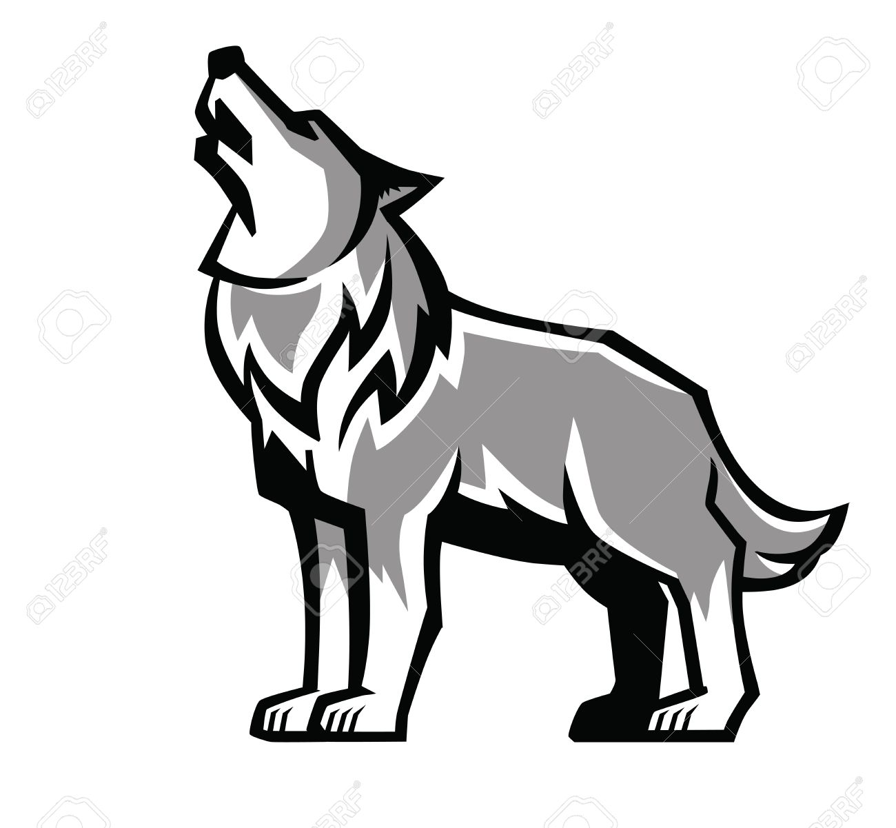 1300x1201 Vector Black Wolf Howl Emblem On White Background Royalty Free