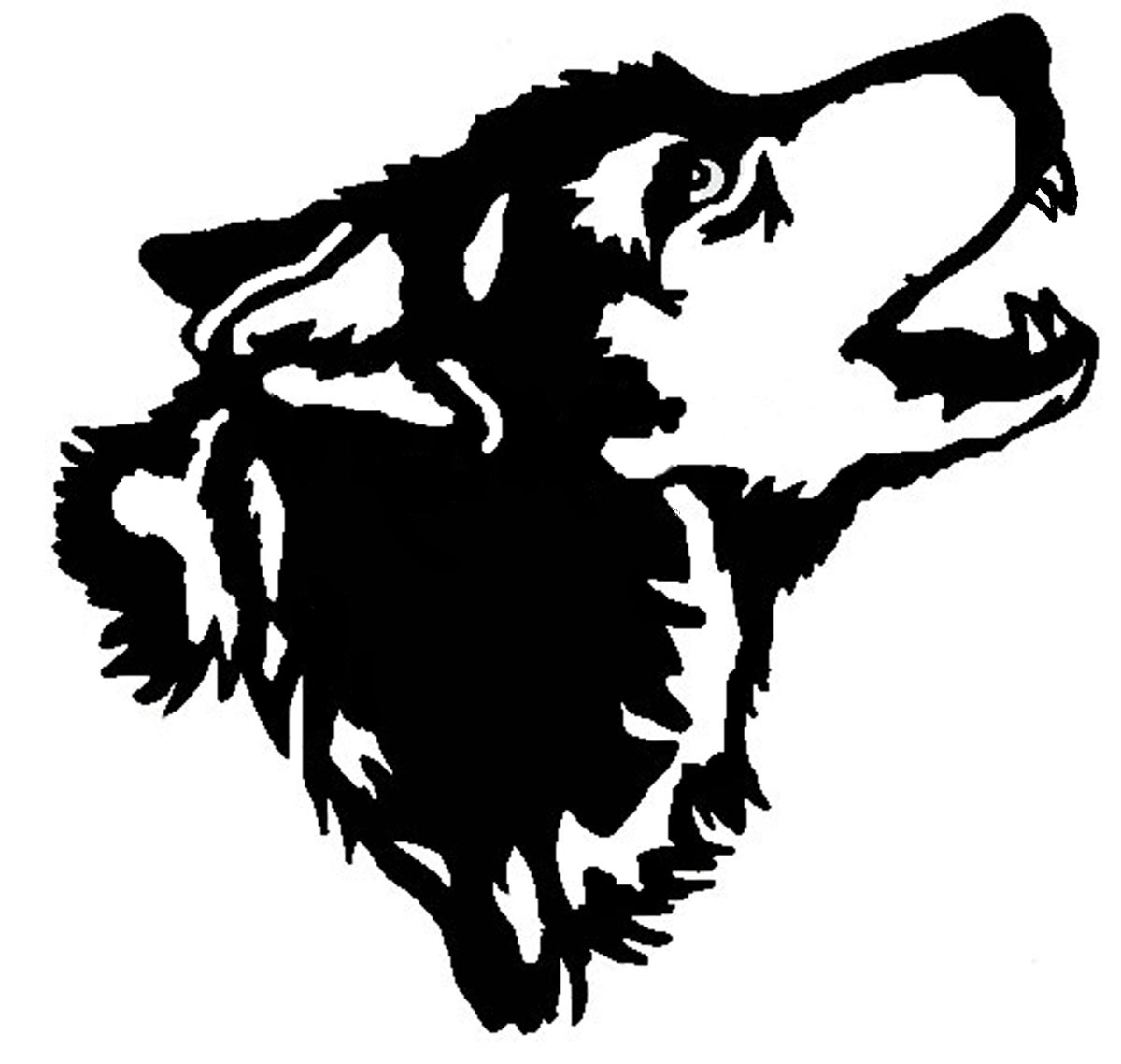 1200x1138 Wolf Head Howling Clipart Black And White
