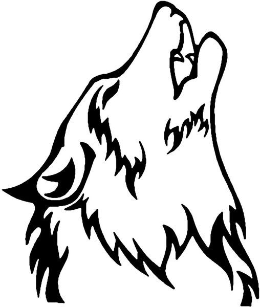 508x600 Drawn Howling Wolf Outline Howling