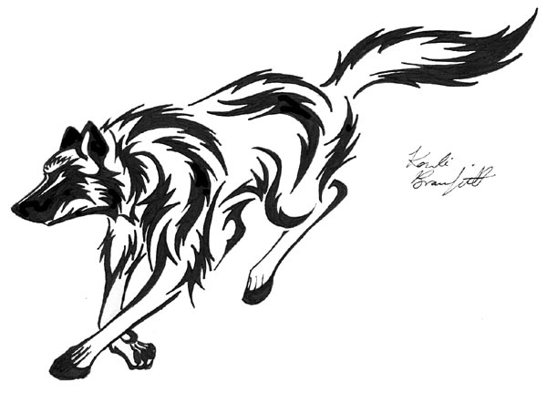 600x442 Running Tribal Wolf By Waddygigger