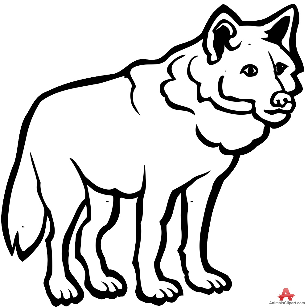 999x996 Wolf Outline Drawing In Black And White Free Clipart Design Download