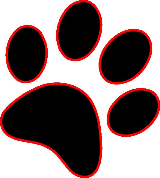 534x594 Red Paw Print Clip Art