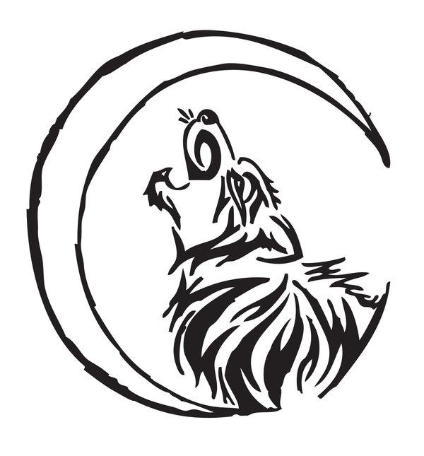 600x645 Drawn Howling Wolf Tribal Wolf