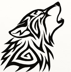 236x239 Elaine Proffitt Original,tribal Howling Wolf Drawing, 2011