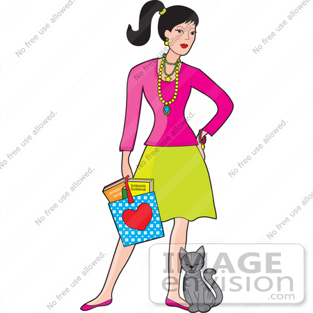 450x450 Clip Art Graphic Of A Fashionable Young Woman Carrying A Bag