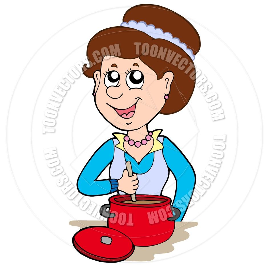 940x940 Cartoon Smiling Woman Cooking