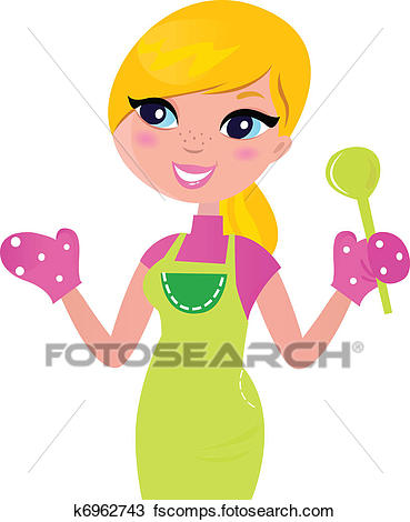 369x470 Clipart Of Cooking Mother Preparing Healthy Green Food Isolated