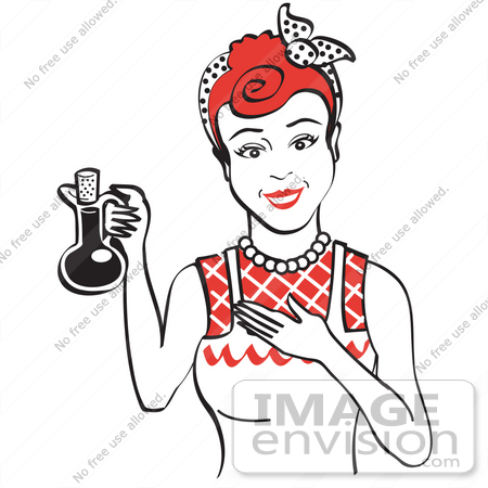 450x450 Royalty Free Cartoon Clip Art Of A Happy Woman In An Apron