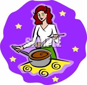300x295 Art Image A Woman Cooking Soup