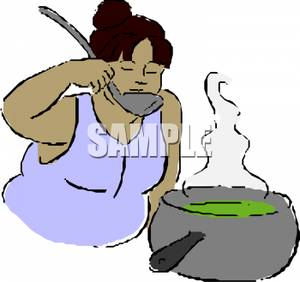 300x282 Woman Taste Testing Her Cooking Soup Clipart Picture