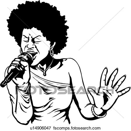 450x452 Clip Art Of Illustration, Lineart, Singer, Sing, Singing, Woman