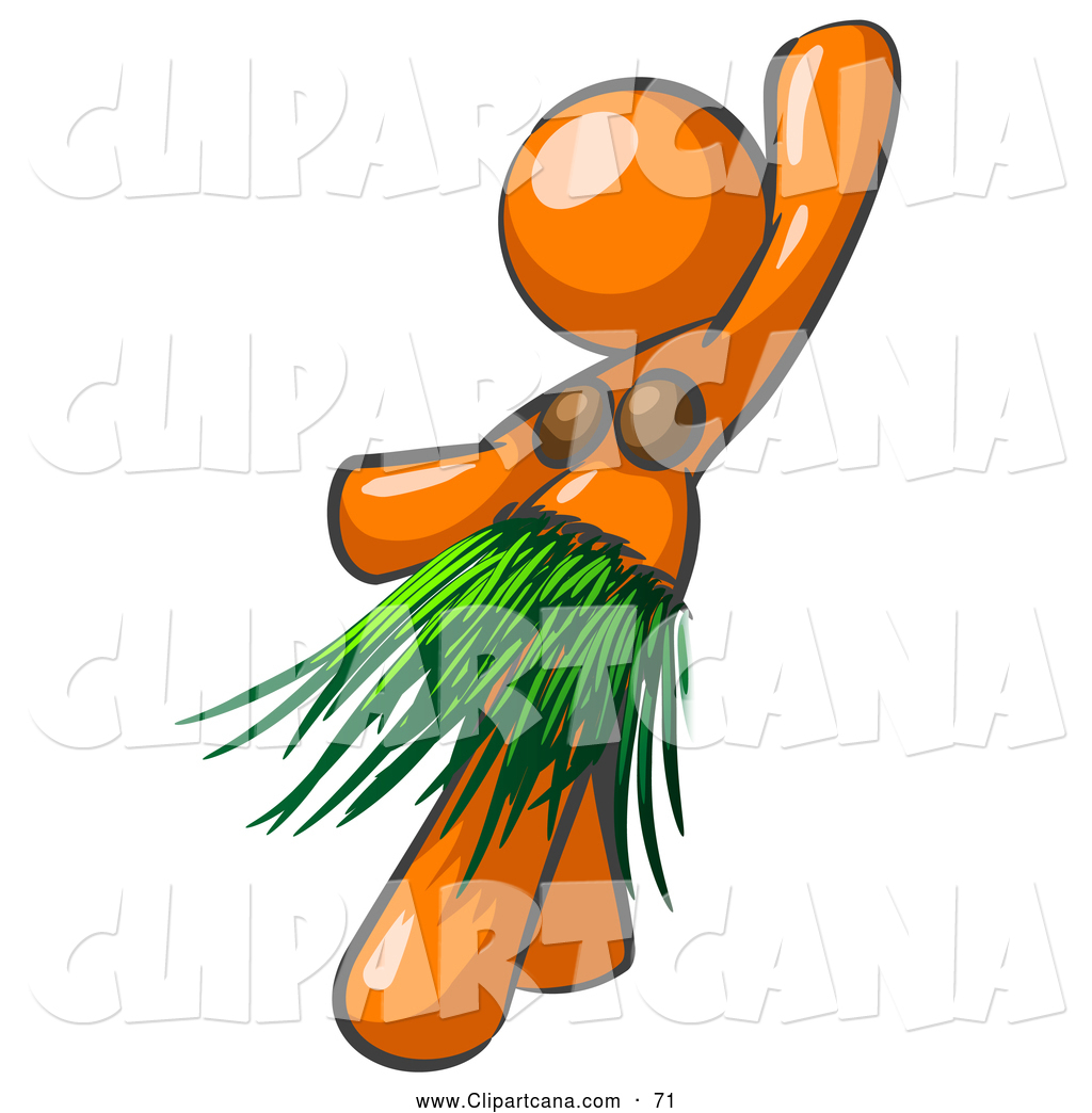 1024x1044 Vector Clip Art Of A Shiny Orange Hula Dancer Woman In A Grass