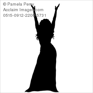300x300 Clip Art Illustration Of Silhouette Of A Female Entertainer Onstage