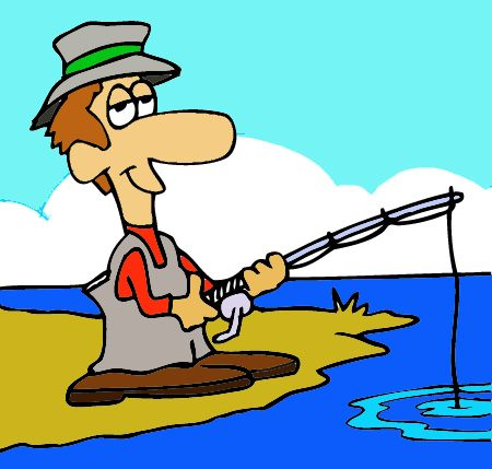 Woman Fishing Clipart