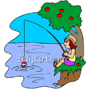 289x300 Girl Fishing In A Stream Or Lake Royalty Free Clipart Picture