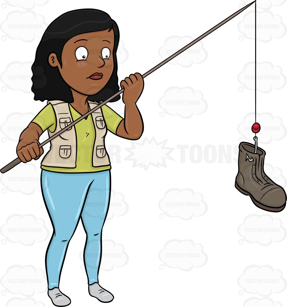 957x1024 A Black Woman Catching A Discarded Boot With A Rod Cartoon Clipart