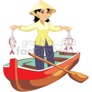 300x300 Royalty Free Asian Female Fishing 393646 Vector Clip Art Image