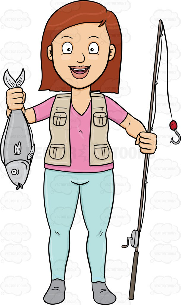 609x1024 A Happy Woman Shows Off A Fish She Has Caught With Her Rod Cartoon