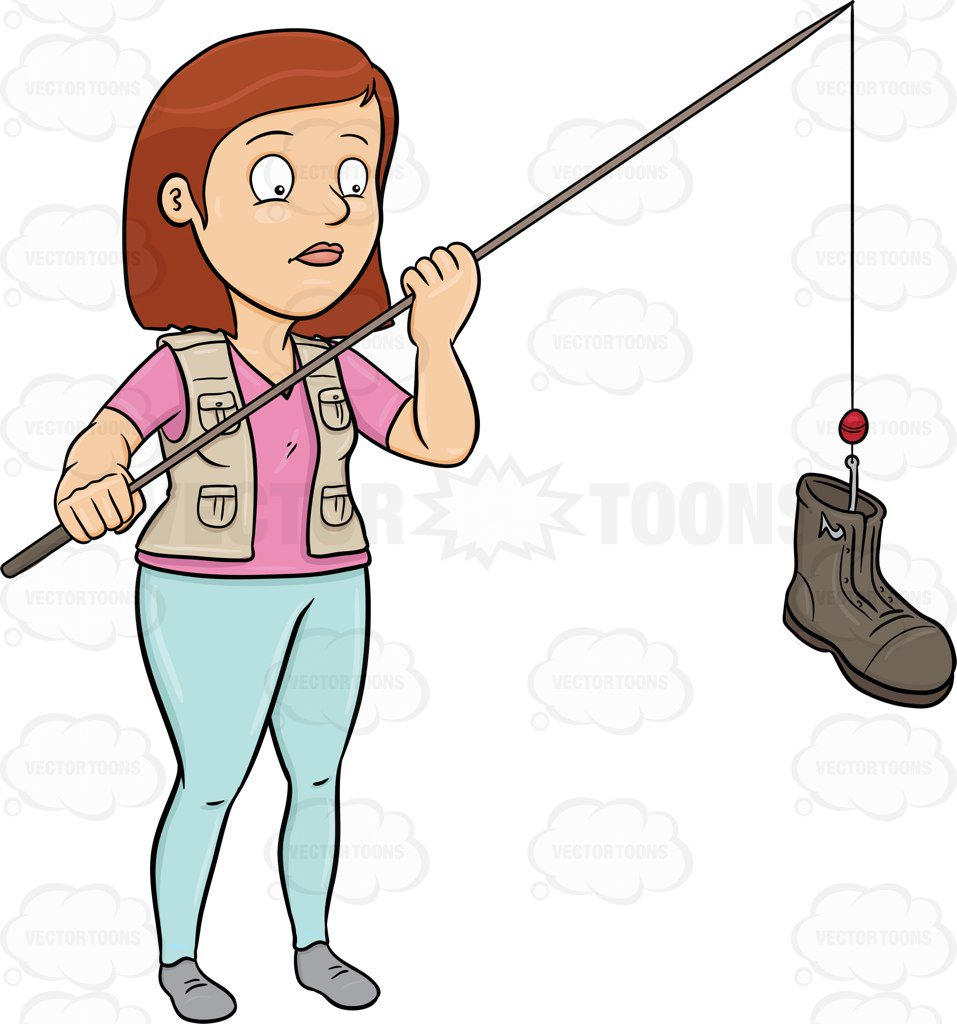 957x1024 A Woman Catching A Discarded Boot With A Rod Cartoon Clipart