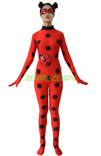 354x550 Miraculous Ladybug Printed Spandex Lycra Costume With Eye Mask