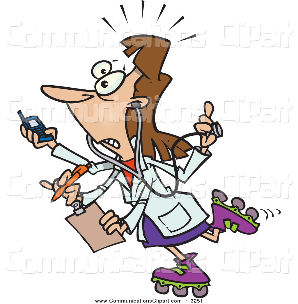 1024x1044 Communication Clipart Of A Nervous Female Doctor With 4 Arms Multi