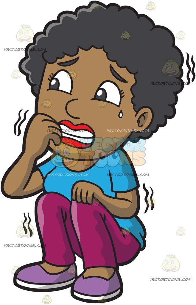 658x1024 A Black Woman Shakes In Fear Cartoon Clipart