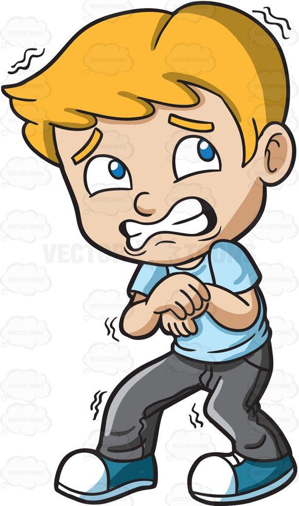606x1024 A Terrified Young Boy Cartoon Clipart