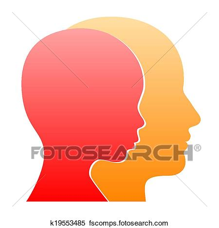450x470 Clipart Of Man And Woman Face Profile Silhouette. Vector K19553485