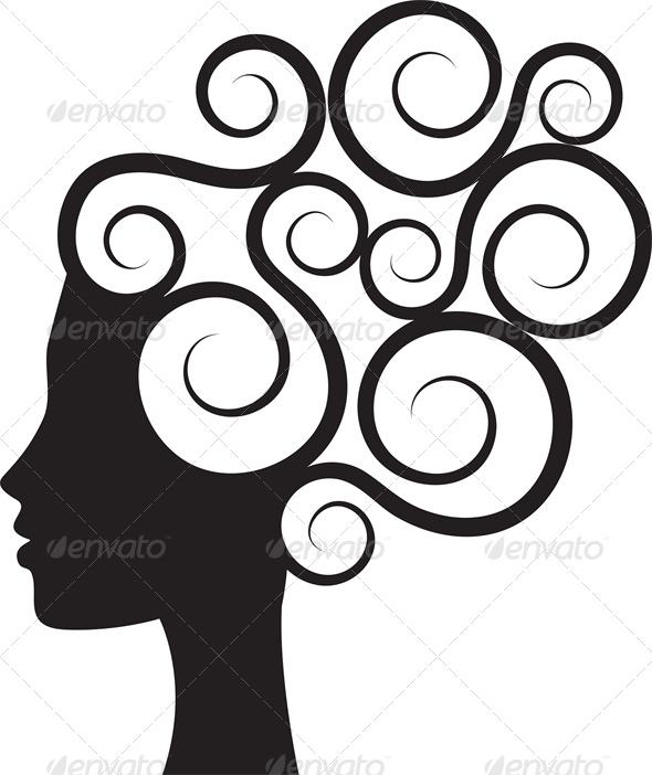 590x702 Silhouette Of Woman's Profile With Curly Hair By Prikhnenko