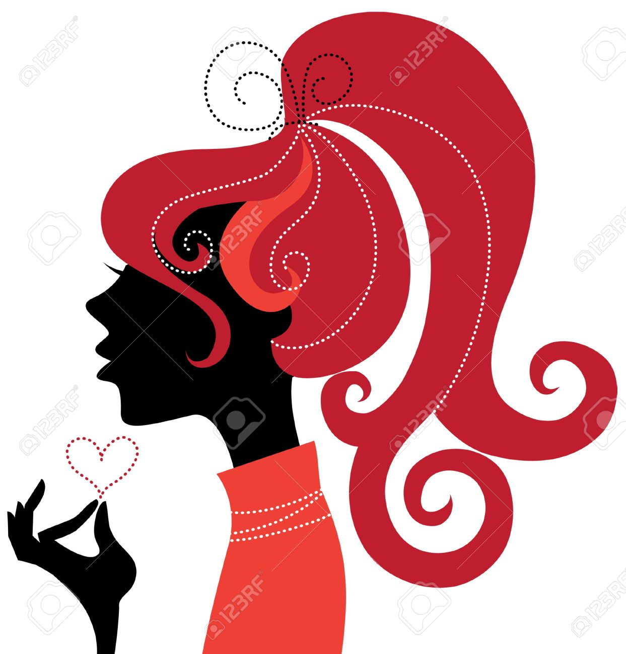 1243x1300 Beautiful Girl Silhouette Profile Royalty Free Cliparts, Vectors