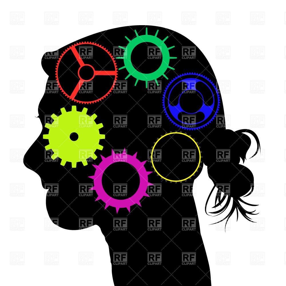 1000x1000 Brain Mechanism, Over Woman Profile Royalty Free Vector Clip Art