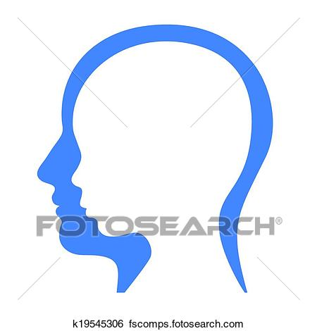 450x470 Clip Art Of Man And Woman Face Profile Silhouette. Vector