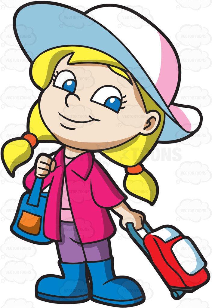 705x1024 A Cute Little Traveler Cartoon Clipart