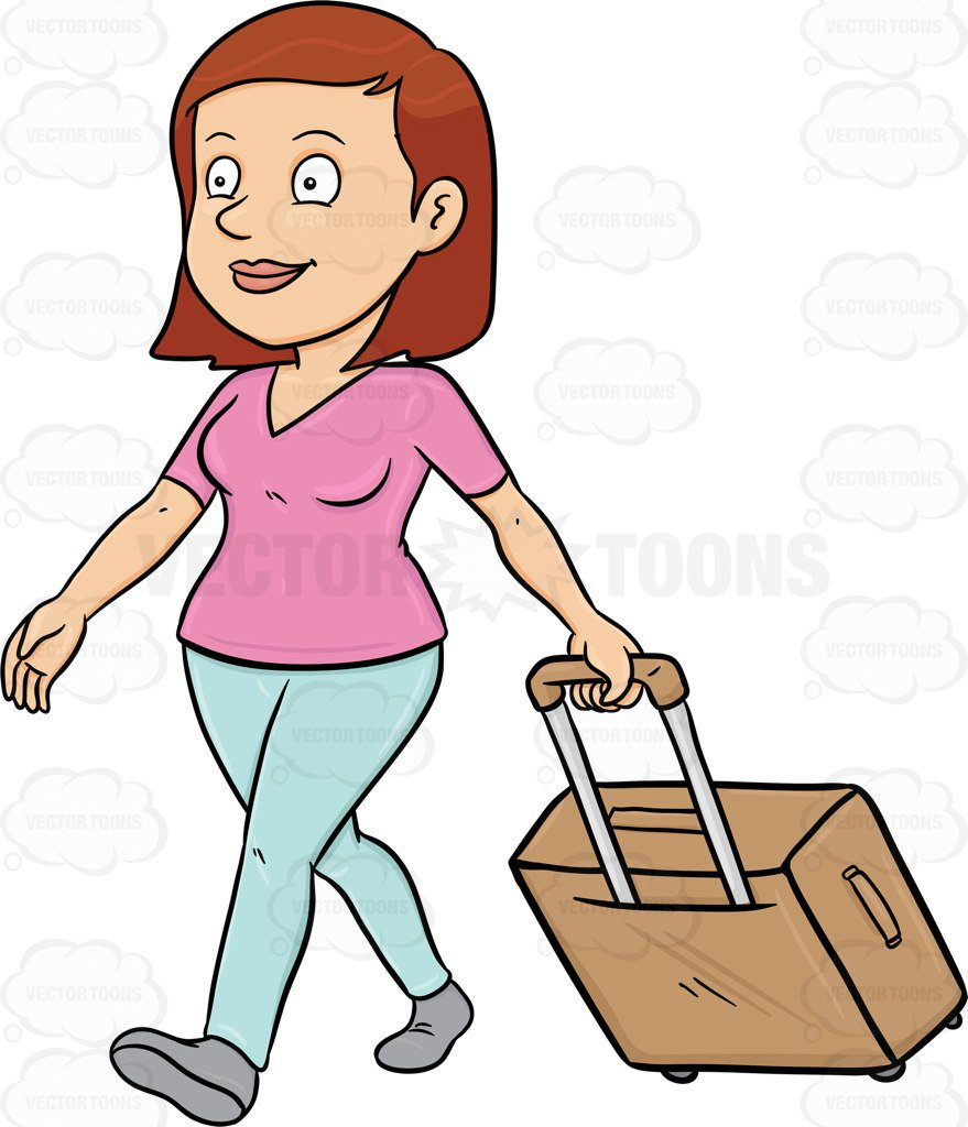 879x1024 A Female Tourist Tourist Walks While Pulling Her Luggage Cartoon