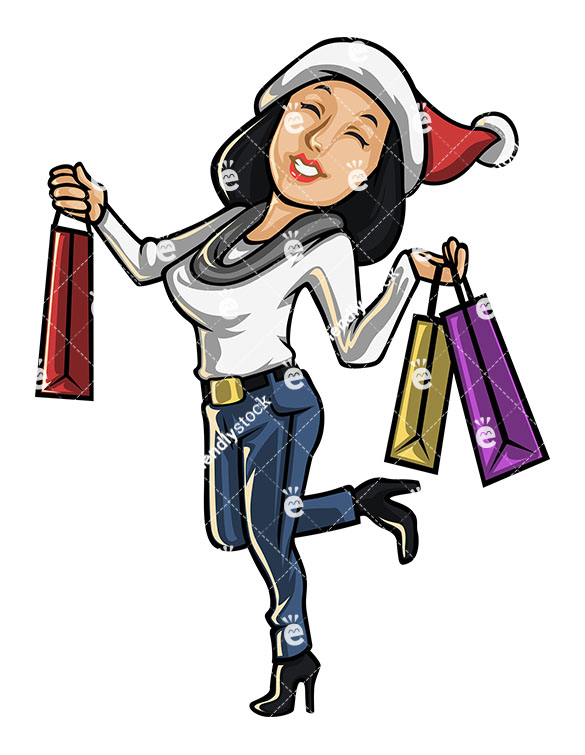 585x755 Cheerful Woman Going Christmas Shopping Cartoon Vector Clipart