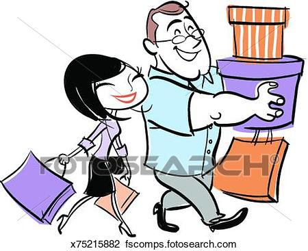 450x367 Clip Art Of Man And Woman Carrying Shopping Bags X75215882